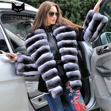 Brand Design Real Fur Coats For Women Oversized Chinchilla Rex Rabbit Turn-down Collar Full Sleeves Rabbit Jacket Outerwear Tops
