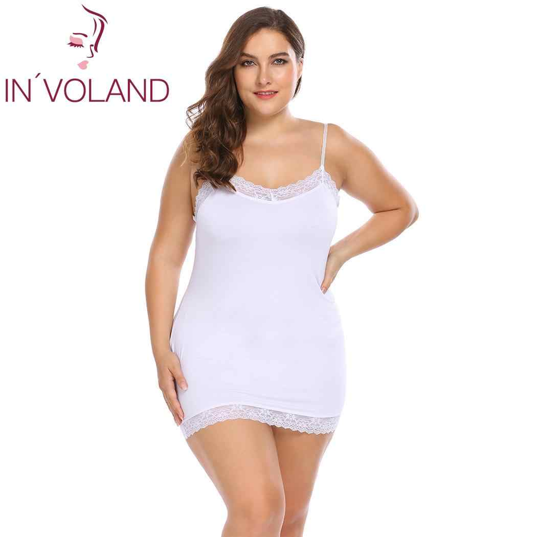 303f19ec24a IN VOLAND Big Size Women Nightgowns Sleepshirts 4XL Sexy Dress Nightwear  Lace Patchwork Slim Full