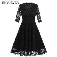 Enyuever Black Lace Dress Vestido Vintage 50s Retro Robe Pinup Tunic Swing Elegant Party Rockabilly Dress Women Clothing Sleeves