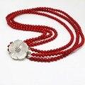 Мода 4 строк красный искусственный коралловые 6 мм природный круглые бусины белый мать оболочки цветок застежка элегантное ожерелье 17-18 дюймов B1453