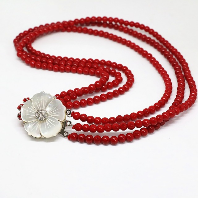 Fashion 4 rows red artificial coral 6mm natural round beads white mother shell flower clasp elegant necklace 17-18inch B1453