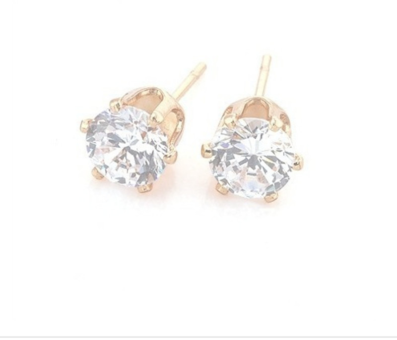 Free Shipping 8mm 1Pair White Zircon Earrings Six Claw Female Earrings Rose Gold Plating Anti Allergy