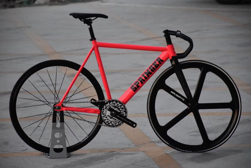 Fixed Gear Bike 54cm single speed bike Smooth Welding frame DIY Magnesium alloy wheel front Customize Track Bicycle 700C wheel