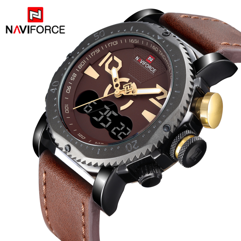 Watches Men NAVIFORCE Brand Men Leather Sport Watch Dual Time Quartz Analog Wrist watch Male Military Watch Relogio Masculino 2017 new luxury brand naviforce men leather sport military watch dual time quartz analog digital wristwatch relogio masculino