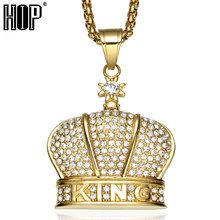 HIP Hop Bling Iced Out King Crown Necklace Full Rhinestone 316L Stainless Steel Gold Necklaces & Pendants for Men Jewelry(China)