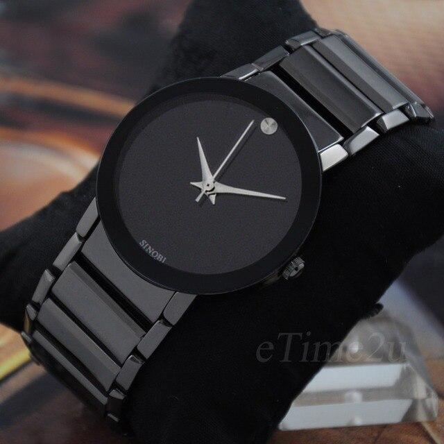 2d2aaa2a51a SINOBI Marca Assista Casual Homens Completa Aço Preto relógio de Pulso de  Quartzo de Japão Relojes