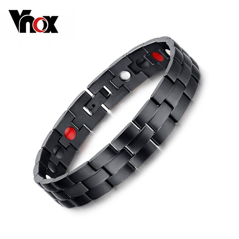 Vnox Men's Black Bracelet Bangle Magnetic Health Chain Men Charm Jewelry Stainless Steel Bracelet For Men
