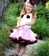 Baby Girls Clothing Sets fluffy pettiskirts and rosette flower t-shirt outfit