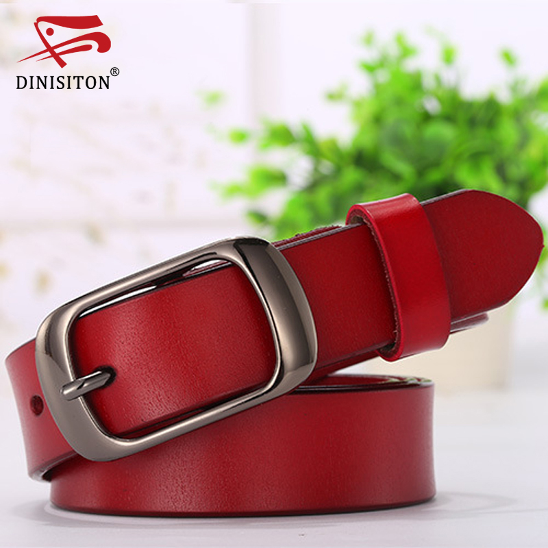 DINISITON genuine leather women belt metal pin buckle vintage belts for woman jeans high quality  luxury female strap  fashion