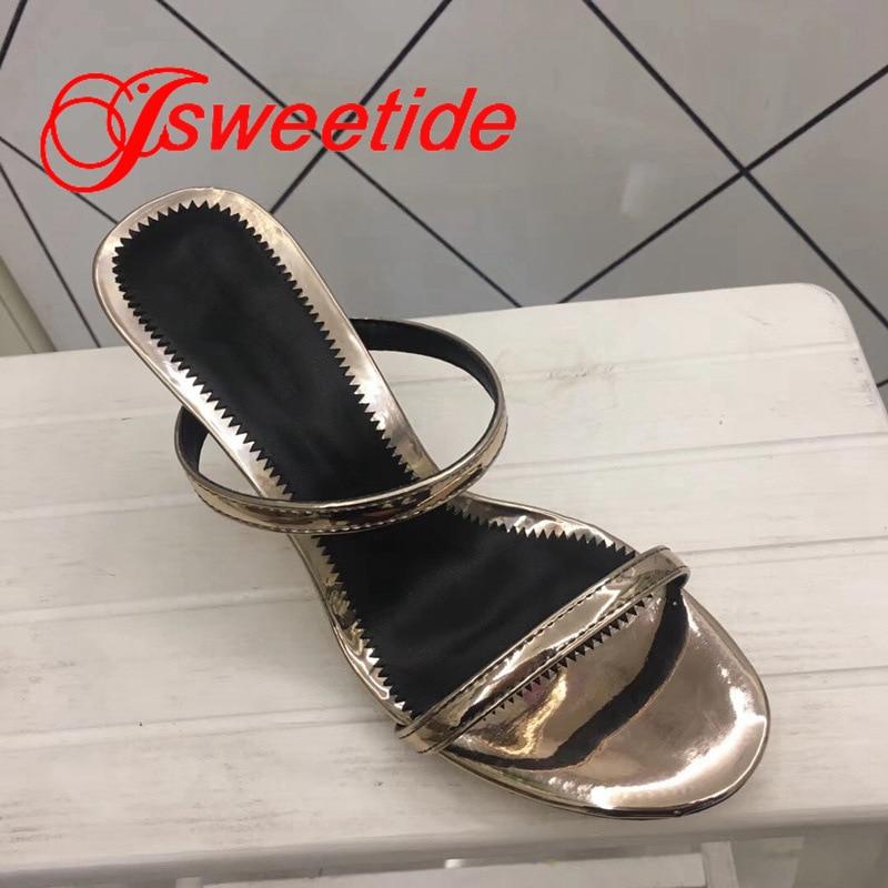 Płaskie buty ze skóry naturalnej okrągły peep toe kobiety wiosna klapki na lato na zewnątrz Flip Flop wysokie obcasy metalowe patent Sexy kapcie w Kapcie od Buty na  Grupa 2