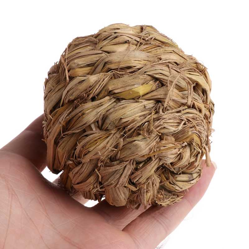 1PC 10cm Pet Chew Toy Woven Grass Ball with Bell For Rabbit Hamster Guinea Pig