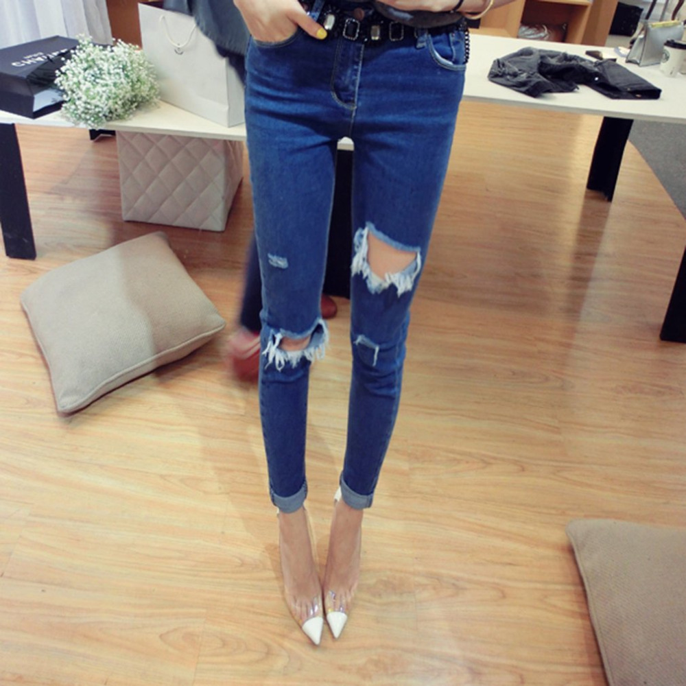 Casual Straight Slim Women Denim Pencil Pants Cotton Elastic Ankle-length Jeans Trousers with Ripped Hole Leisure skinny Pants 2017 ripped jeans women casual denim ankle length boyfriend pants women floral embroidered flares hole female slim pencil pants
