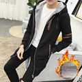 New 2017 Man Thick Hoodies High Quality Thick Warm Casual Plus velvet Fashion Design Sportswear Hoodies Men Long Trench Jacket