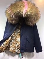 2018 Luxury Faux Fur Coat Leopard Print Winter Jacket Turn Down Collar Slim Women'S NAVY Short Mixed Color Raccoon Hood