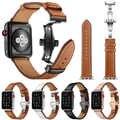 יוקרה רצועת עור עבור אפל שעון סדרת 1 2 3 4 פרפר סגירת להקת עבור אפל קוראת שעון אביזרי 38 40 42 44 mm