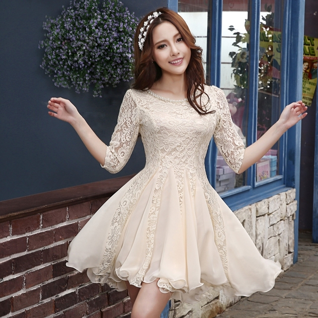 Aliexpress.com : Buy Vintage Lace Wedding Dress Short Puffy With ...