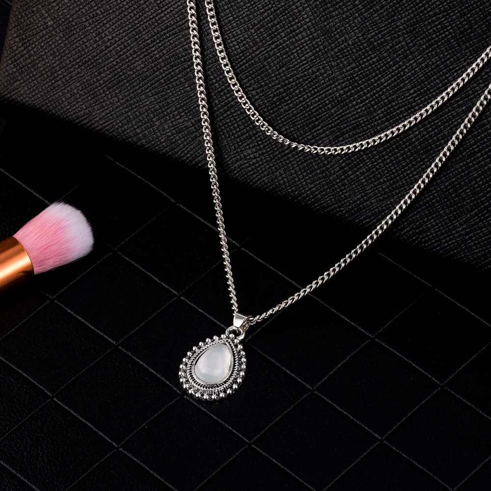 PARENTES 2019 Moda Multi Layer Cor Prata Pedra Gota Colar de Pingente de Boemia Do Vintage Jóias Mulheres Presentes da Jóia Da Menina