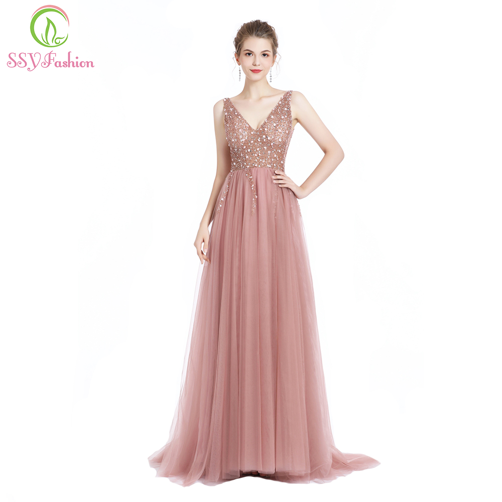 47c4b1e2607b SSYFashion New Luxury Beading Evening Dress Sexy V-neck Sleeveless Backless  Sweep Train Prom Gown Formal Dresses Robe De Soiree
