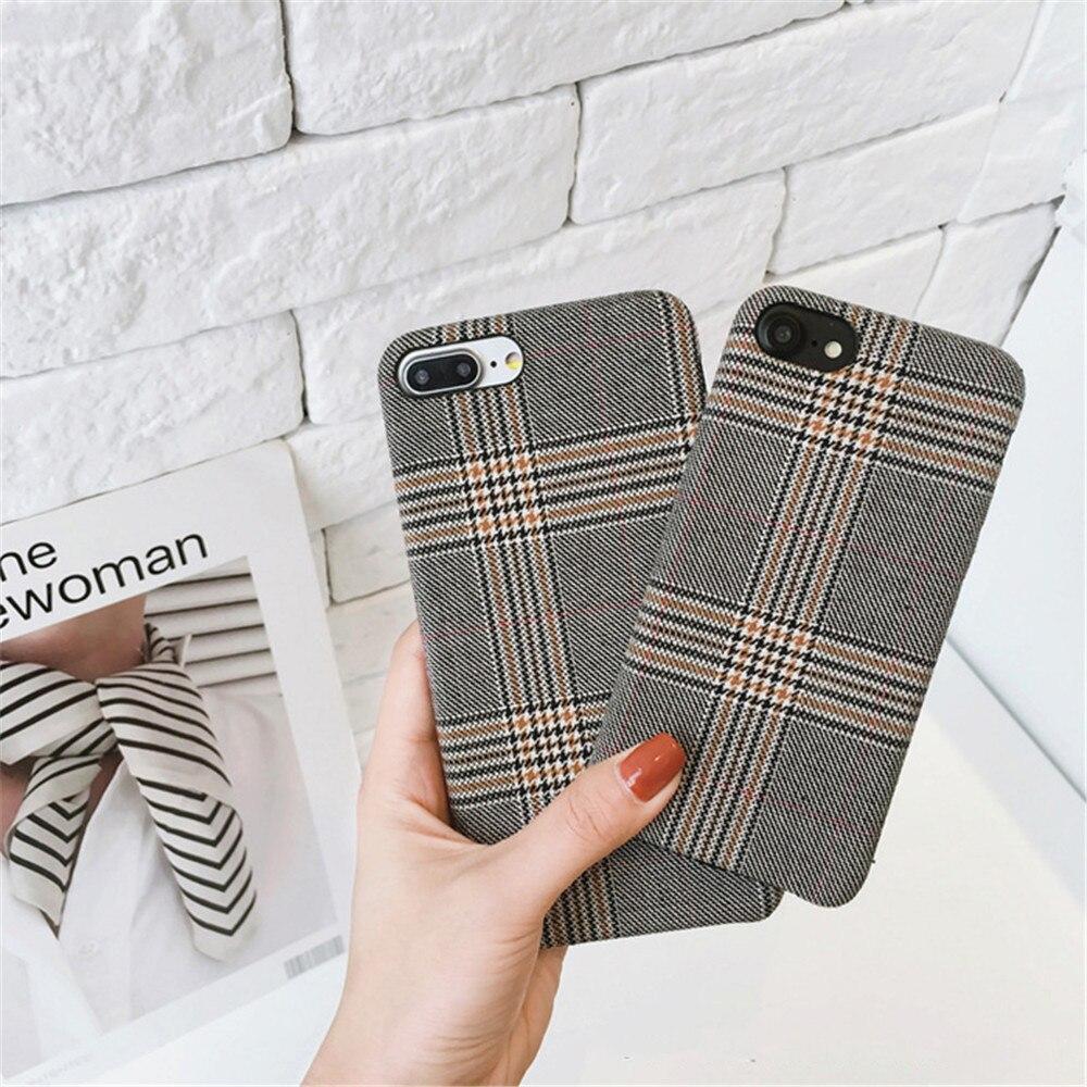 Ayeena England Checker Capas For Iphone 7 7Plus 6S 6Plus 8 8Plus Elegant Cloth Weaving Soft Cover Back Phone Bag For Iphone X