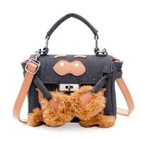 2017 New Women Canvas Handbag Fur Messenger Bag Luxury Plush Shoulder Bag With Lock Cute Monster