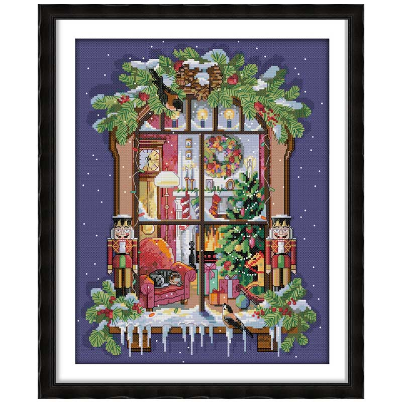 The Window Of The Christmas Counted Cross Stitch 11CT 14CT Cross Stitch Set Wholesale Cross-stitch Kit Embroidery Needlework