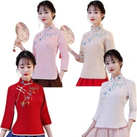 Shanghai Story Long Sleeve cheongsam top Flower Embroidery Linen Blouse top Traditional chinese tops 4 Color