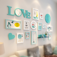 New Hanging Wooden Picture Photo Frame Set Decoration Home Foto Frame Wall Frames for Wedding Hotel Livingroom Decor 14 Pieces