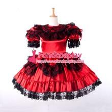 Free Shipping font b Sexy b font Sissy maid Dress lockable red Satin French maid Uniform