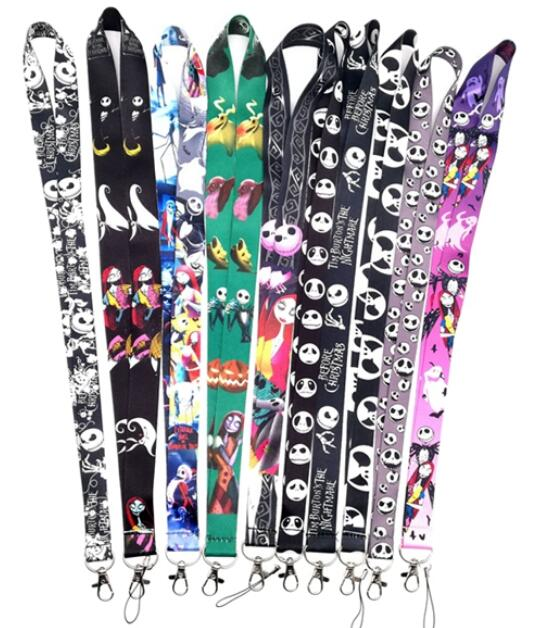 50 PCS Nightmare Before Christmas Mix Neck Strap Lanyard Mobile Phone Charms Key Chain ID Badge