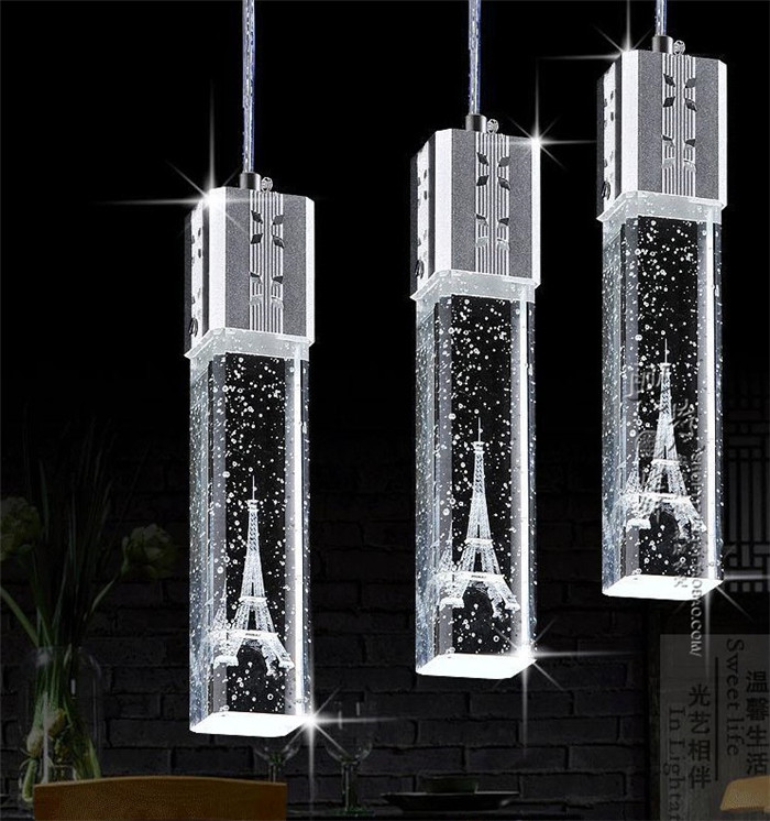 2016 Modern minimalist LED crystal pendant lamp three creative living room lamps bar restaurant Pendant Lights single aisle stai rectangular dining room pendant lights european style led crystal pendant lights modern restaurant lamp bar cafe creative lamps