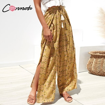 Conmoto Casual High Waist Wide Leg Pants Women 2019 Summer Beach Split Trousers Female Holiday Vintage Floral Prints Capris