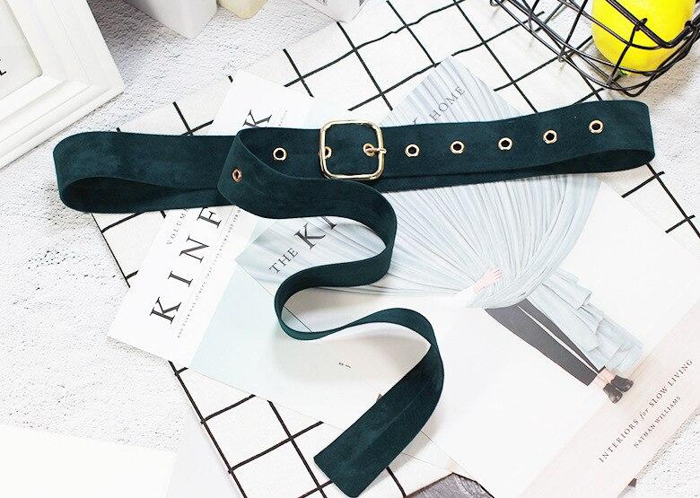 Ретро Бархат квадратная пряжка декоративный пояс для талии корсет Omen для девочек пояс для женщин платье джинсы брюки - Цвет: Green
