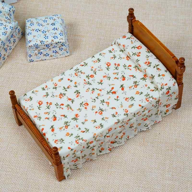 Dongzhur Dollhouse Miniatures 1:12 Accessories Super Cute Floral Single Bed Doll House Furniture Miniatura Toy House Dropship