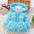 Novo 2016 Inverno crianças snowsuit bebê Coelho Dos Desenhos Animados do bebê snowsuit menina Com Capuz Quente do bebê roupas de menina snowsuits