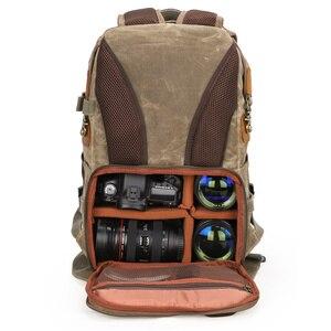 Image 5 - バティックキャンバス + 革防水カメラバッグ野外撮影一眼レフ/一眼レフリュック Fotocamera 一眼レフバッグニコン、キヤノン、ソニーデジタル一眼レフ