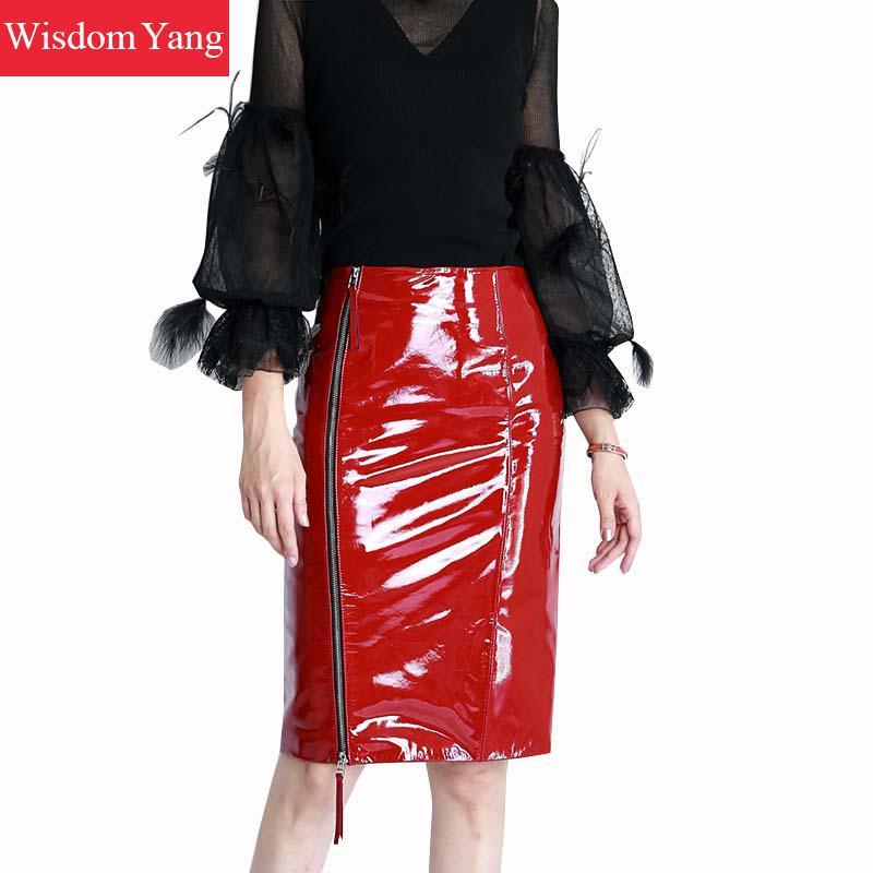 Midi Crayon Black Mouton 2018 Verni red Femmes Taille Summer Haute Cuir Jupes Jupe Skirt Noir Sexy Skrit Party Dames De Rouge Réel Véritable Peau En wa7IOq1