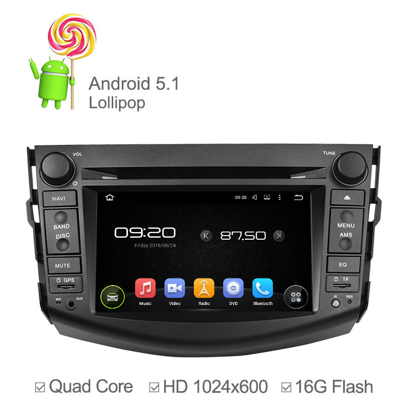 1024*600 Android 5.1 Car Radio DVD for Toyota RAV4 2006 2007 2008 2009 2010 2011 2012 Car DVD Player Cortex A9 Quad Core 16GB beautiful and pract fabric rear trunk security shield cargo cover black for toyota rav4 rav 4 2006 2007 2008 2009 2010 2011 20