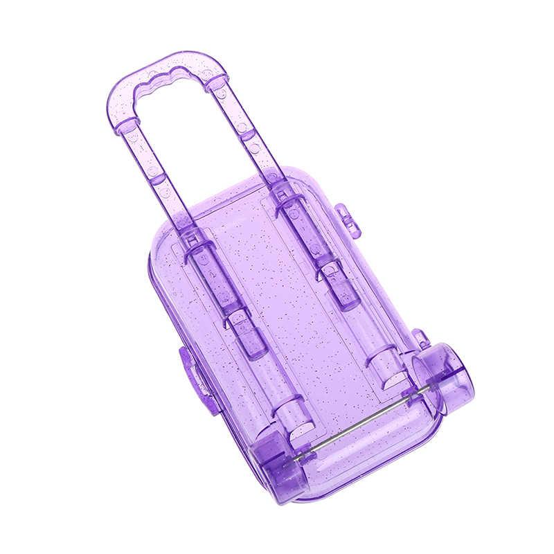 Hoge Kwaliteit Plastic Mini Roller Bagage Box Kids Speelgoed Reizen Trolley Koffer Voor Poppen Kleine Opbergdoos Meisje Verjaardagscadeau