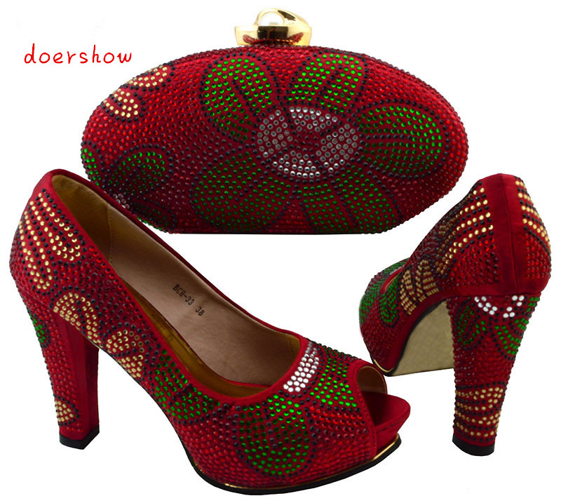 Shoes and Bag To Match Italian African Shoe and Bag Set for Party In Women Italian Matching Shoe and Bag Set doershow   BCH1-11 italian matching shoes and bag set african wedding shoe italy sandal shoe and bag set for party high heels sandal shoes bch 27