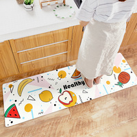 Cartoon Japanese style Home Wear resistant Anti slip Mats Home Waterproof and Oil proof Long Strip PVC Leather Kitchen Mats Rugs