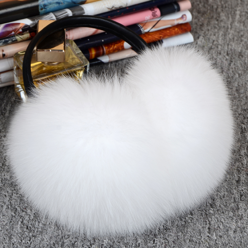 Winter & Spring & Autumn Women Warm Fur Earmuffs Girl's Earlap Ultralarge Real Fox Fur Earflap Ladie's Plush Ear Muff