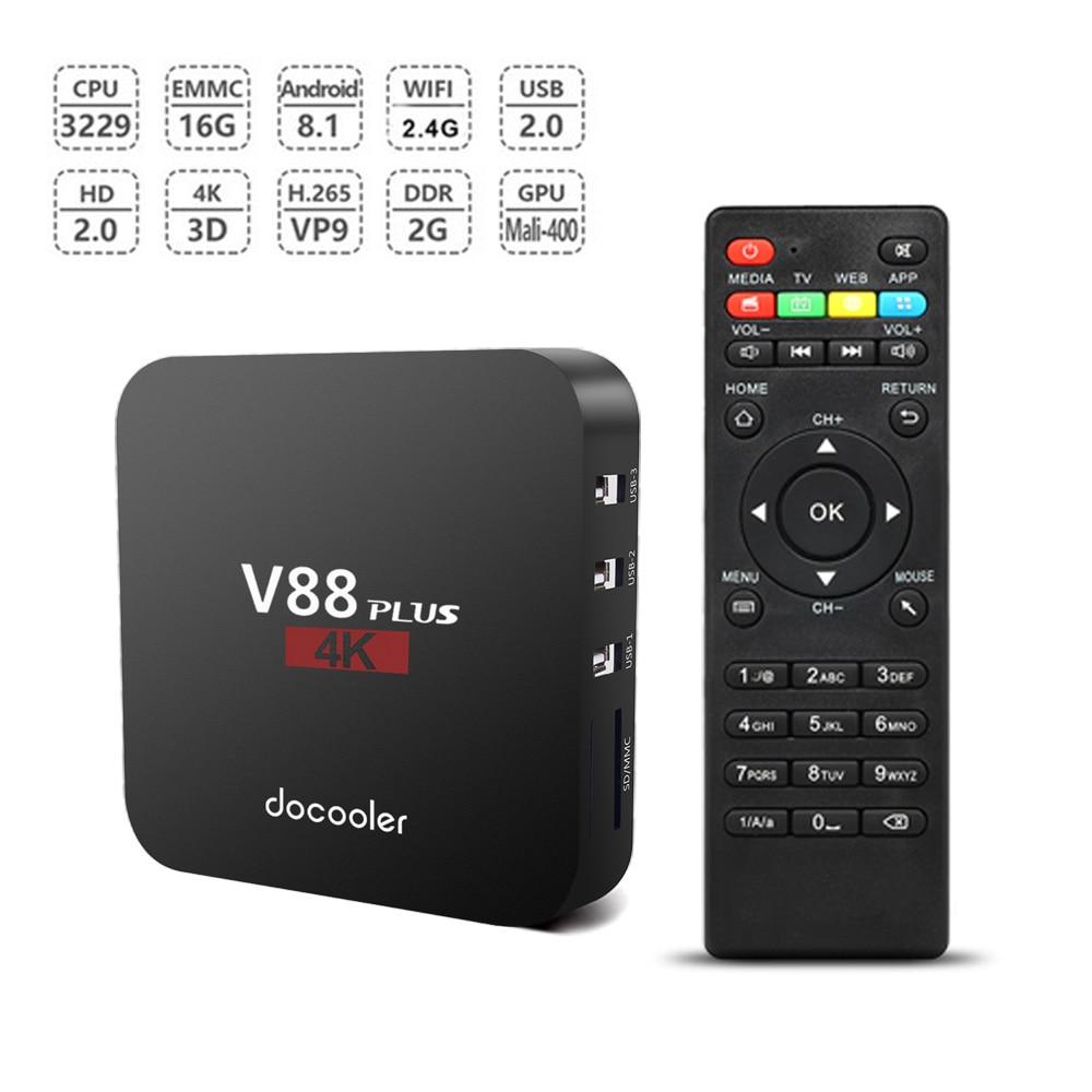 Docooler V88 Plus Smart Android 8 1 TV Box RK3229 Quad Core 4K 1080P VP9 H
