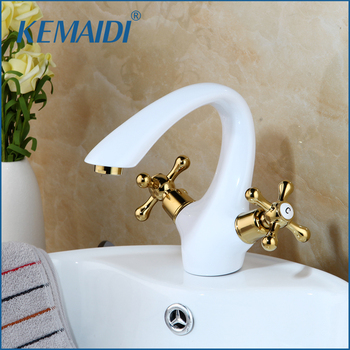 KEMAIDI Basin Faucet Sink Mixer Tap Hot Cold Water Solid Brass Golden Polish Handles Bathroom Basin Faucet Lavabo WhiteTap Mixer