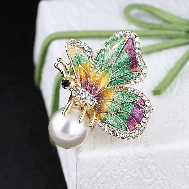 RHao Enamel Terbang Serangga kupu-kupu Bros multi colorful hewan kupu-kupu Wanita Pria Gadis pakaian perhiasan gesper korsase pin