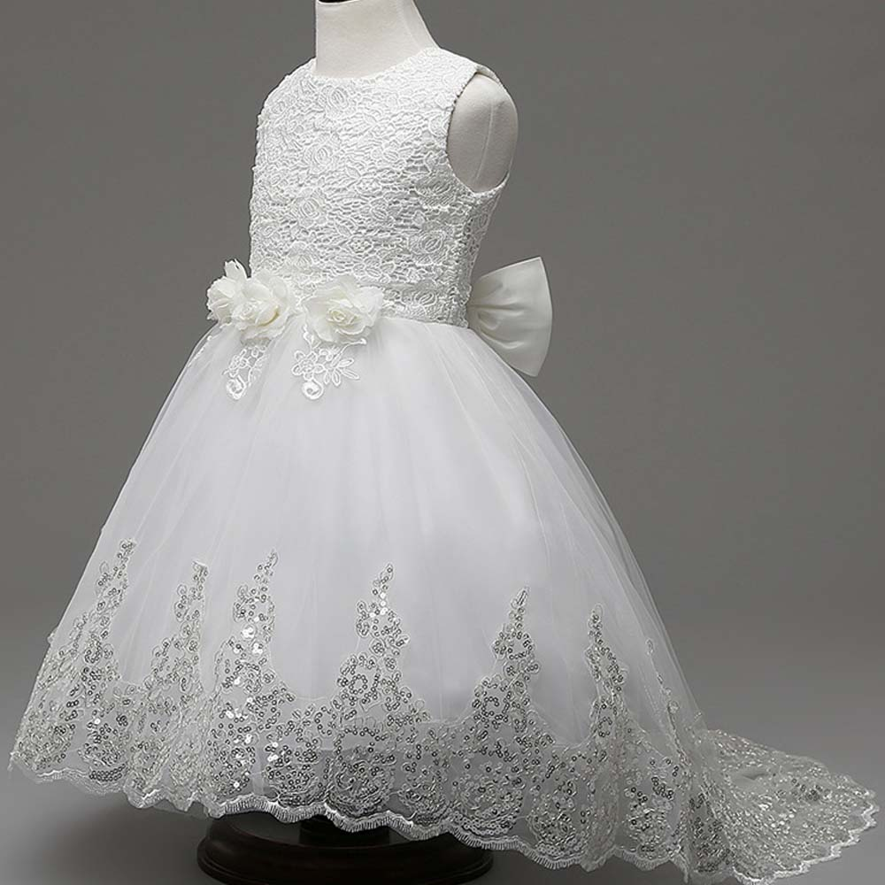 Flower Girls Dresses for Party and Wedding High Quality Bridesmaid Children White Trailing Dress Kids Summer Lace Princess Dress