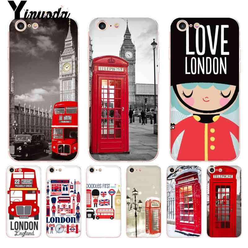 Yinuoda For iphone 7 6 X Case London Bus England Telephone Top Detailed Phone case for iPhone 8 7 6 6S Plus X 10 5 5S SE XS XR