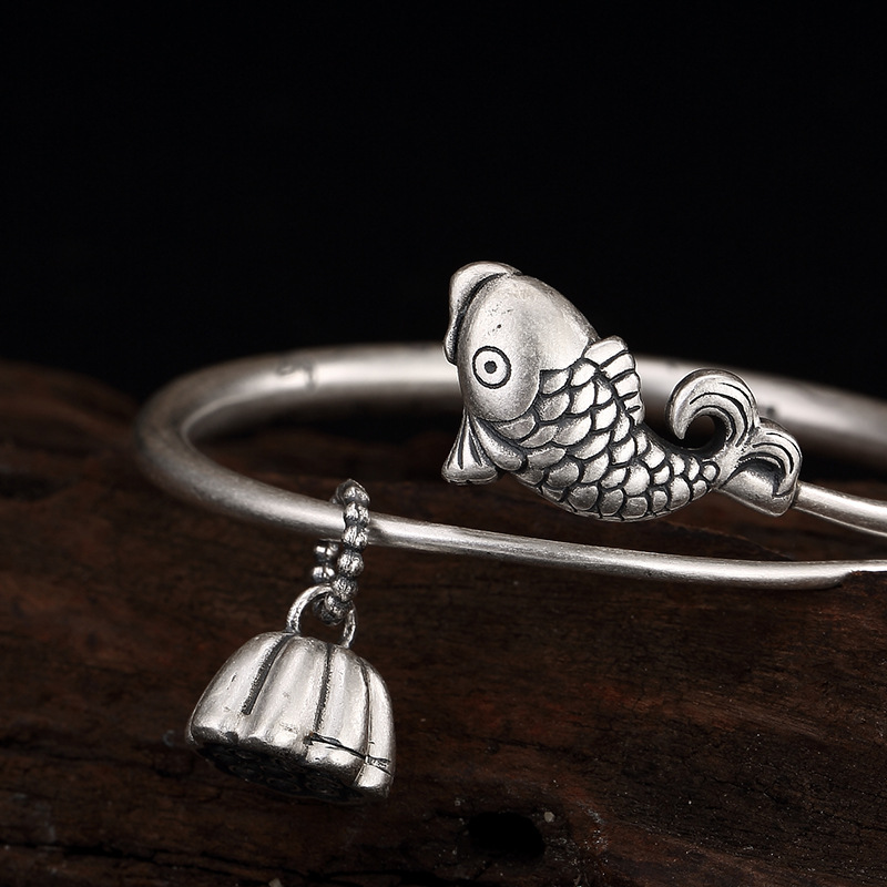 Authentic 990 Silver Bracelet Women Cuff Bracelets Bangle Fish With Lotus Charm Inspirational BraceletAuthentic 990 Silver Bracelet Women Cuff Bracelets Bangle Fish With Lotus Charm Inspirational Bracelet