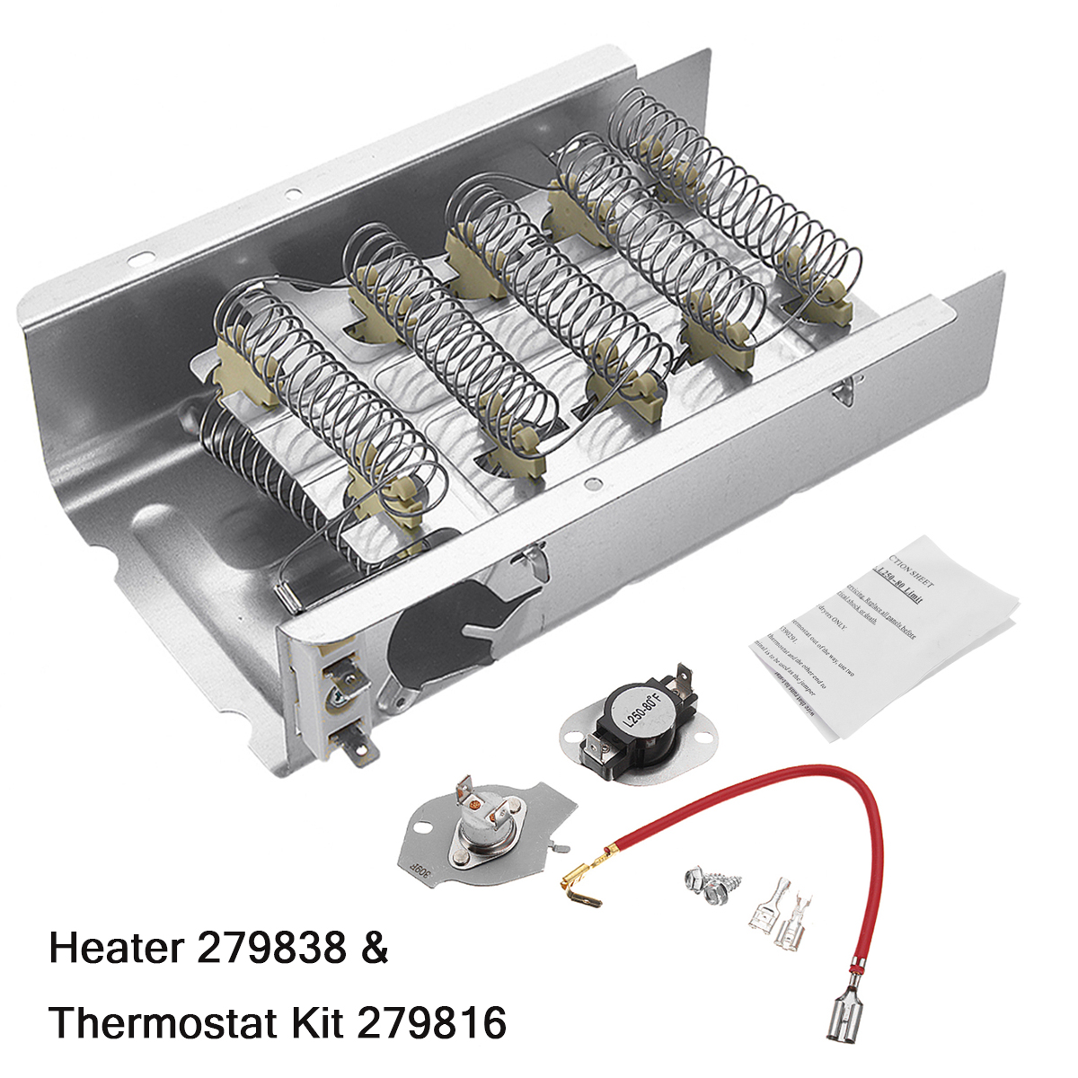 240V 5400W Dryer Heating Element & Thermostat Kit 3403585 For Whirlpool Kenmore Mayta Roper