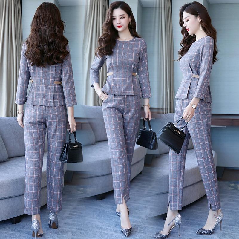 Kadın Giyim'ten Kadın Setleri'de Yeni moda yuvarlak boyun uzun kollu basit kafes mizaç vahşi Kore versiyonu sonbahar iki parçalı'da  Grup 1