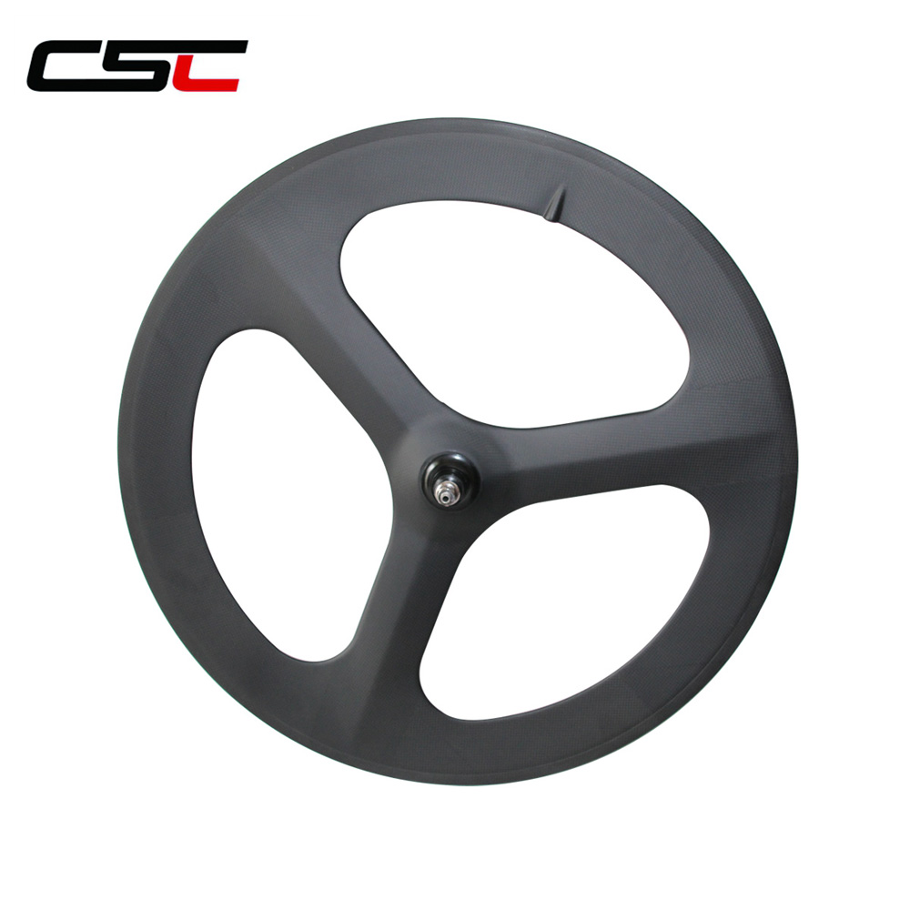 Three spokes carbon wheels Track Road Tri spokes wheels Clincher Tubular three spokes wheel lurhachi carbon 3 spokes wheel road track fixed gear carbon wheels 700c clincher tubular tri spoke wheel road with novatec hub